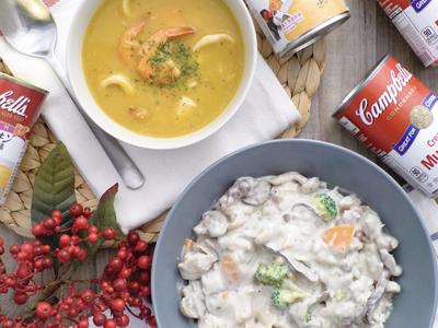 野菇雞肉燴飯佐南瓜海鮮濃湯